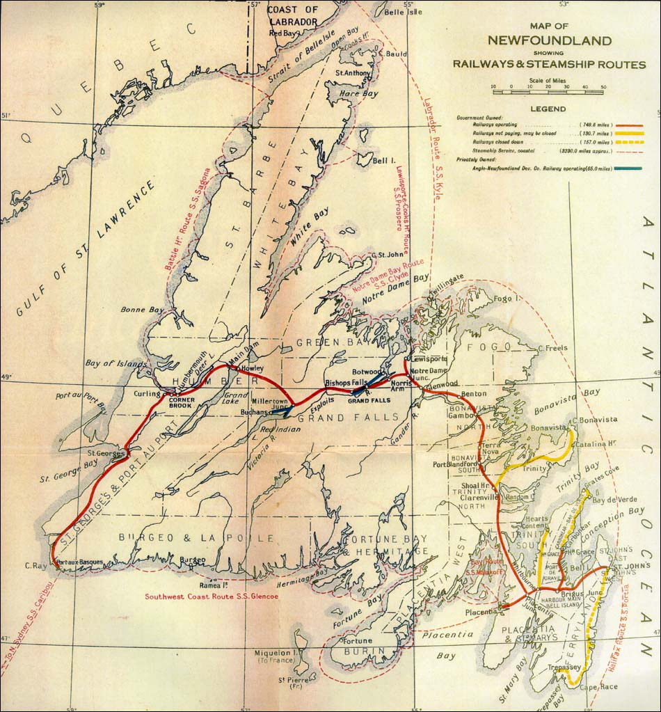 Map Of Newfoundland Showing Railways And Steamship Routes - Map of newfoundland