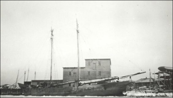 Fishermen's Union Trading Company sealing plant with one of the company�s schooners in foreground.