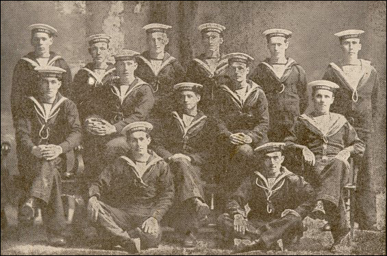 Coaker Recruits. From right to left-1st Row-A.J. Windsor, K. Crews, W. Fowlow, J. Pelley, E.J. Thornhill, J. Bungay.  2nd Row-W.P. Vincent, A. Crews, Henry Tulk, J. Thornhill, G. Hillier.  3rd Row-H.V. Hunter, F. White.