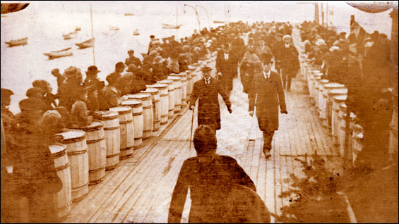 """Bonavista&#8221 [Wharf lined with barrels to create walkway for Go"