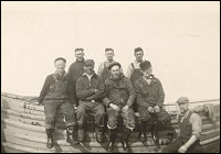 Employees of the Union Shipbuilding Company.  Back row: Fred Mackey, Jack Peters and Peter House.  Front: John Norman, Edward Chaulk, Cecil Lodge, Sam Sweetland and Alex Cooze.