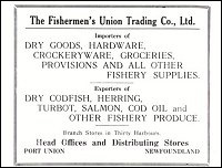 Advertisement for the Fishermen's Union Trading Company.