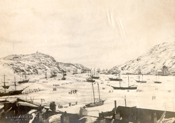 Photograph of a painting of St. John's harbour in winter with vessels in the ice