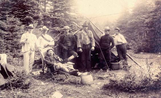 Group of men camping, Placentia