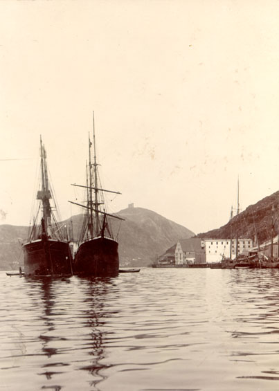 Two unidentified vessels moored in St. John's harbour with Signal Hill in the background