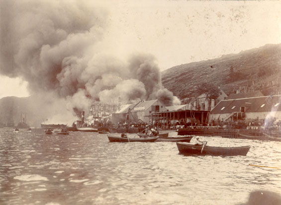 Job Brothers & Co. fire at south side premises, St. John's, taken from the harbour