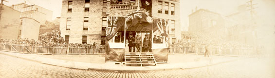 Panorama showing Sir Douglas Haig on a platform outside the Cable Office, St. John's