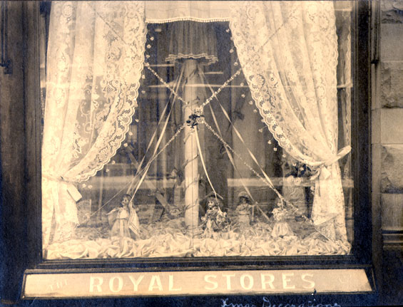 Christmas Decorations in the window of the Royal Stores