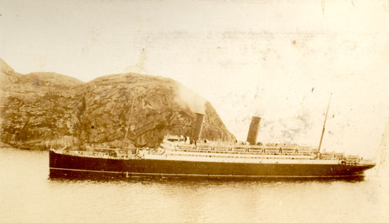 "S.S. ""Coronia"" entering St. John's harbour with Sir Douglas Haig on board"