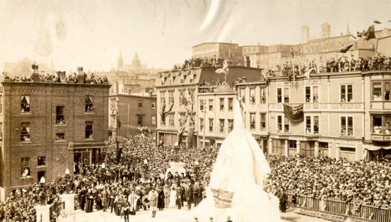 Ceremony at the War Memorial before the unveiling of the monument, St. John's