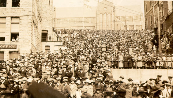 Crowd waiting for Sir Douglas Haig's arrival near the Cable Office, St. John's