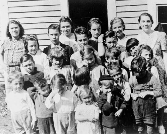 A group of school and pre-school children at Haystack, Placentia Bay, Newfoundland