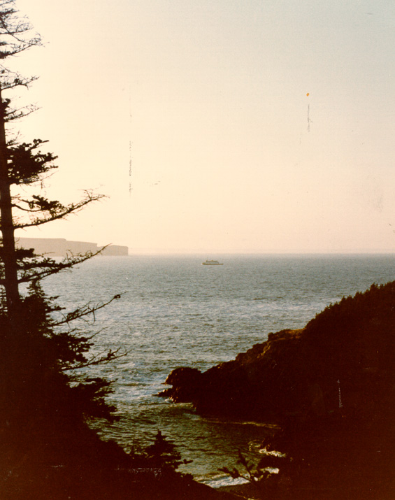 An unidentified ferry crossing the tickle between Portugal Cove and Bell Island, Newfoundland