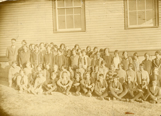 Sudents at United Church Central School, Coster Street, Bonavista with Mr. Johnny Case, Principal, in the back back row