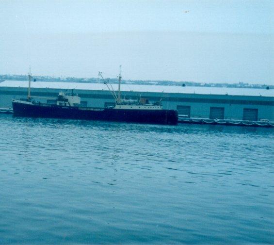 A cargo vessel docked at berth 2, St. John's Harbour, Newfoundland