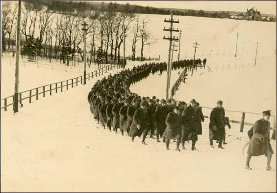 Royal Newfoundland Regiment volunteers marching through St. John's, Newfoundland
