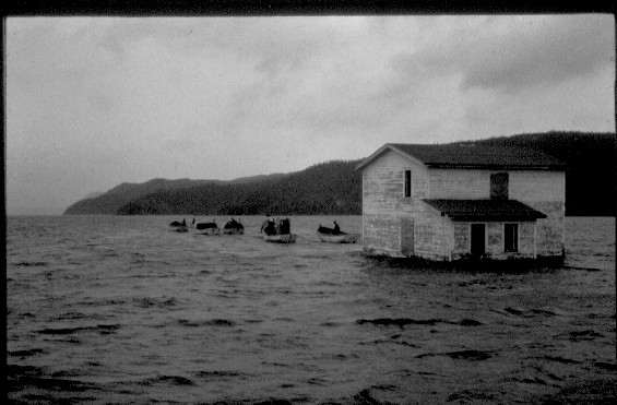 Moving a house in Trinity Bay, Newfoundland