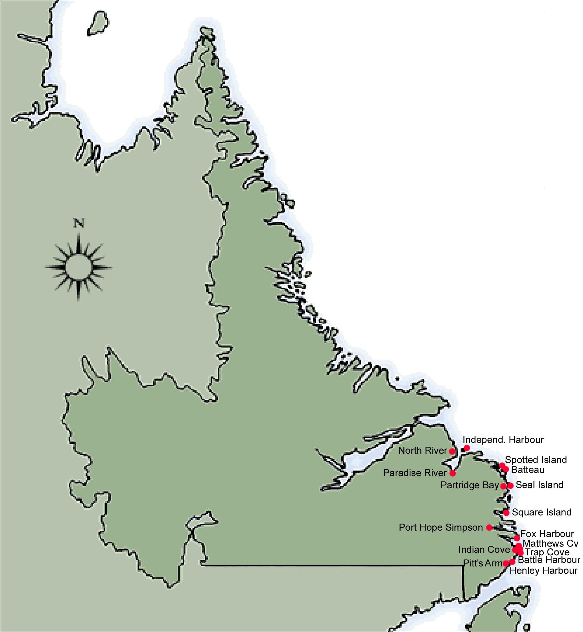 Map Of Labrador Resettlement Map Labrador 1965 1975