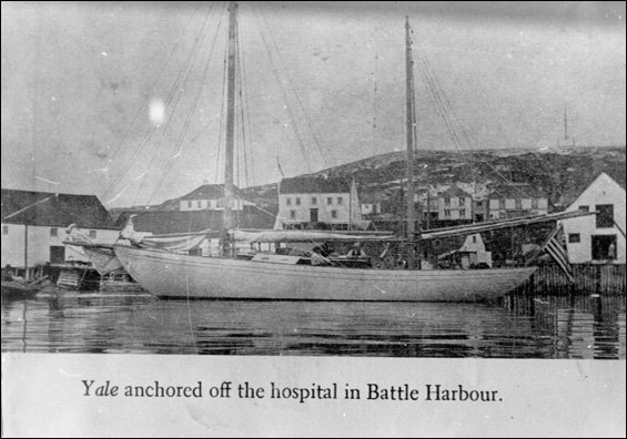 """Yale"" anchored off the hospital in Battle Harbour"