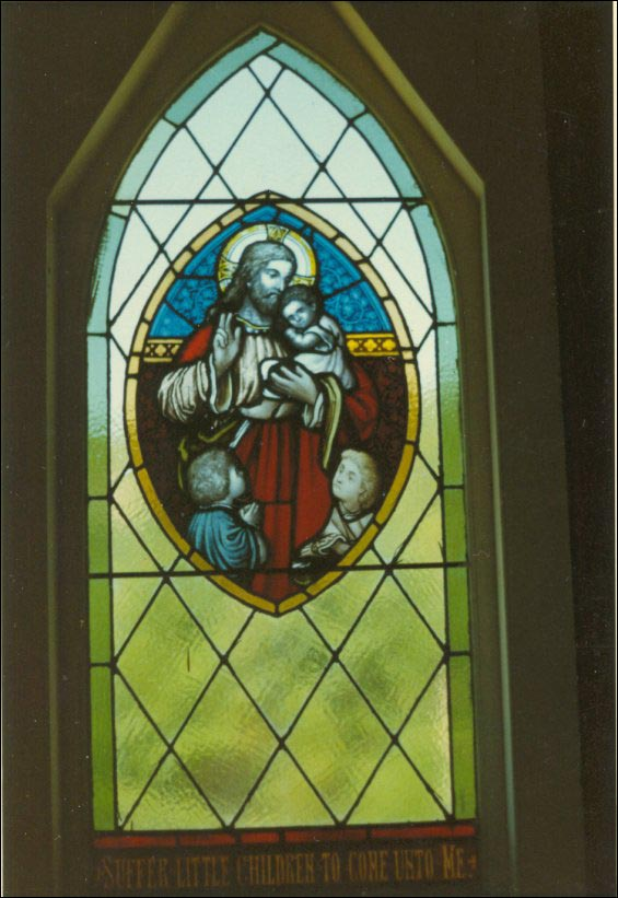 Window from St. Augustine's Anglican Church, British Harbour, later installed in St. Andrew's Anglican Church in Trinity East