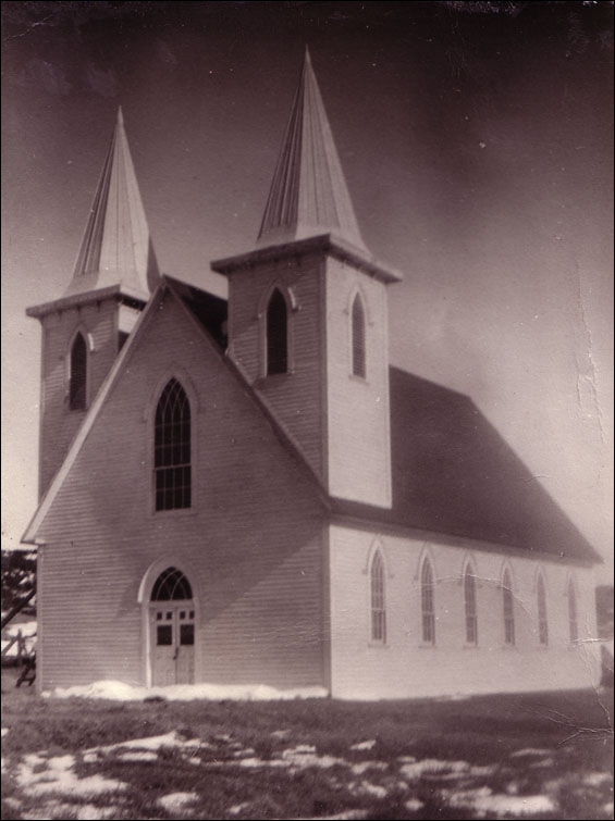 Deer Island United Church, built by Noah Feltham in ca. 1900. Noah was a carpenter, the Sunday school teacher and Deer Island's self-taught 'doctor'