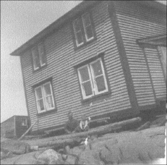 George and Jane Pickett house being towed from Fair Island to Centreville, Bonavista Bay