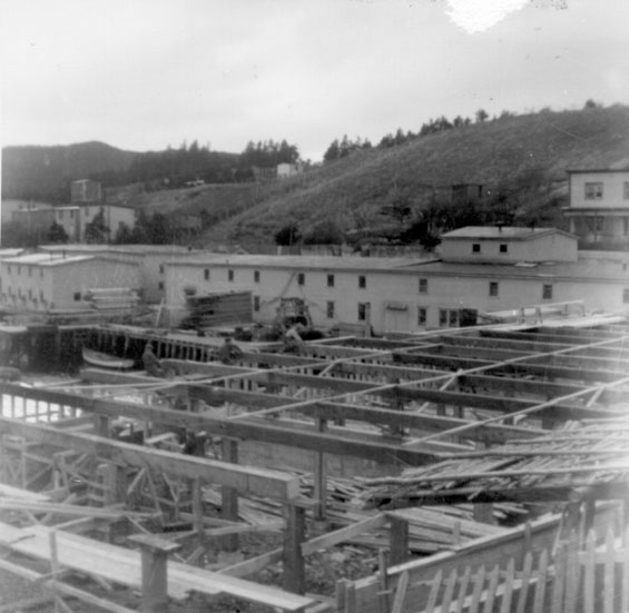 W. W. Wareham's fish dryer under construction at Harbour Buffett, Placentia Bay.
