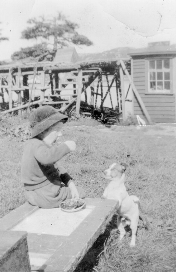 Harvey Tulk and his dog at Tulk's Point, Harbour Buffett, Placentia Bay.