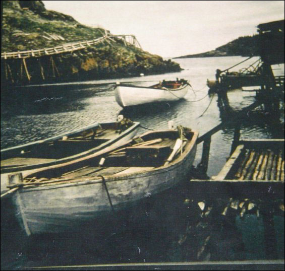 Alfred Melvin's skiff and punt and Willie and Mattie Melvin's punt at La Manche