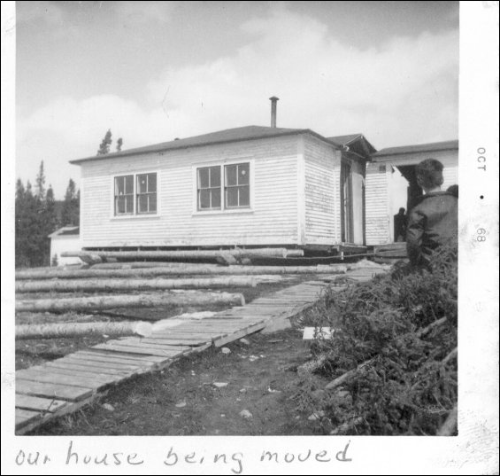 Gordon and Evelyn Lethbridge house being prepared for the move from Paradise River to Cartwright, Labrador