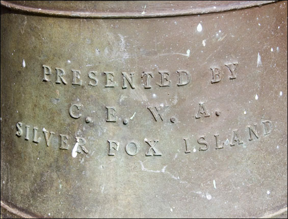 Silver Fox Island, Inscription on bell from St. Andrews Church