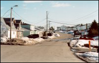 Buffett Road, Arnold's Cove, showing houses floated in from other communities
