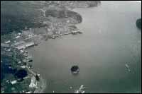 Aerial view of Harbour Buffett, Placentia Bay.