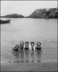 Girls swimming at Point Rosie