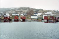 View of stages and houses brought into Salvage from Flat Islands